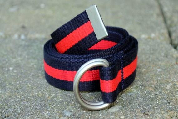 Red and Navy Belt Webbing Belt Stripe Ladies Belt Mens Rugby Stripe Red Stripe Belt Navy D Ring Belt
