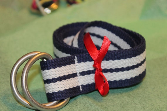 Striped D Ring Belt Navy and White Ladies Mens Teen
