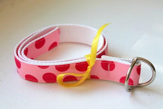 Girls Ribbon Belt Hot Pink and Light Pink Polka Dot Adjustable