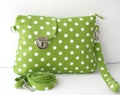 Apple Green and White Polka Dot  Midi Messenger  Bag  Wirstlet and  shoulder Adjustable strap Zipper Closure
