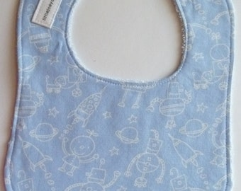 Blue Robots Baby Bib for Boys - Light Blue Pearl Snap