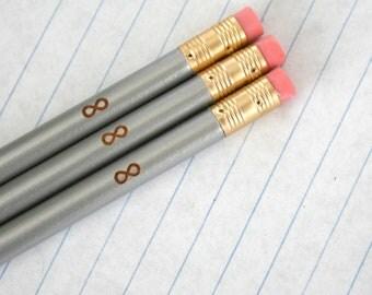 infinity pencil set 3 pencils in silver.  back to school supplies. infinity symbol.