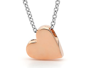 9ct Rose or yellow  Gold and silver baby heart necklace, Rose Gold Heart Pendant on a silver chain, Valentines Day