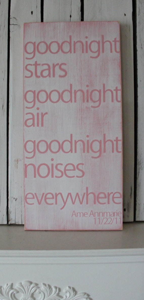 Distressed Aged Pine Wood Wall Art GOODNIGHT MOON Sign