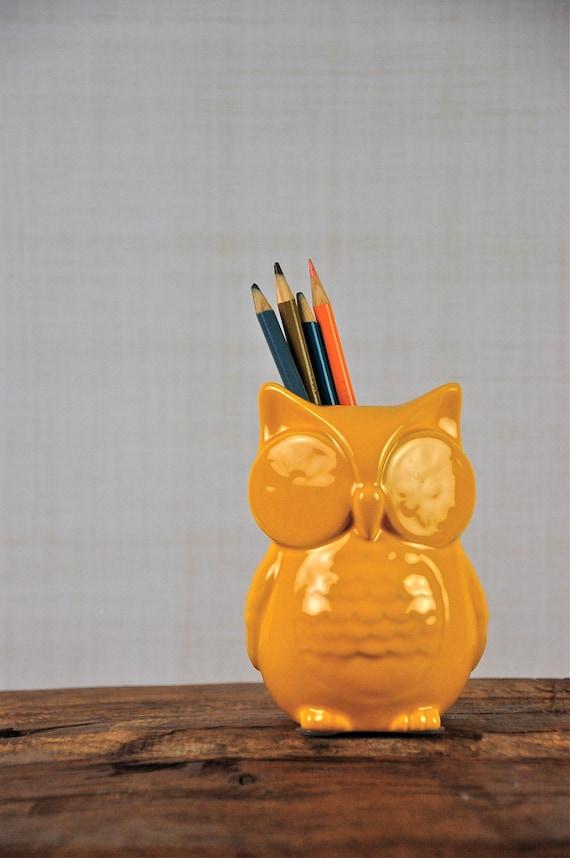 Little Yellow Ceramic Owl, We call her Harriet