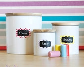 Chevron Color Pop Chalkboard Labels - 10 Small Scalloped Chalkboard Labels, Removable and Repositionable