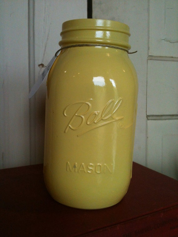 Yellow Mason Jar Vase Home Accents