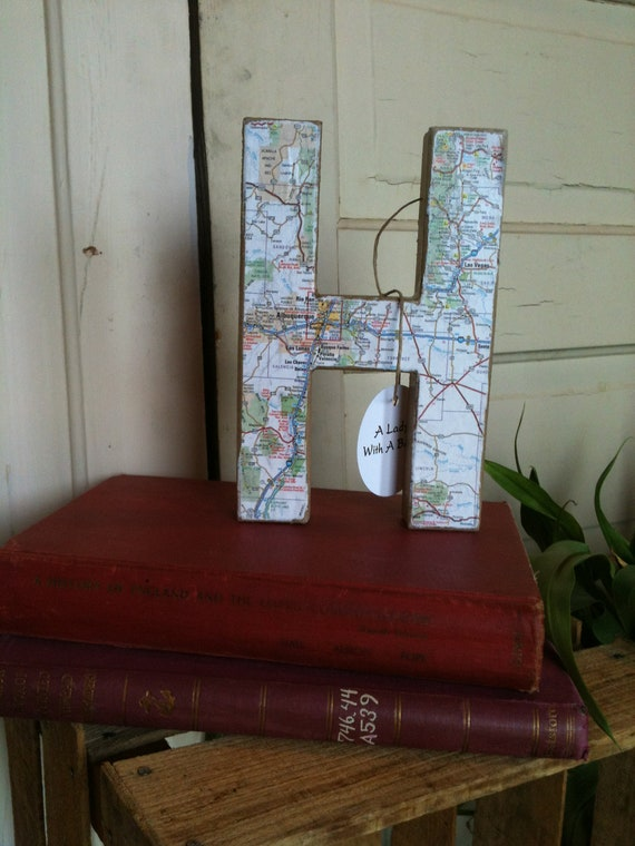 Map Letter H Aged Rustic