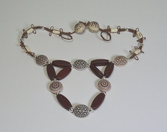 Wood Bone and Acrylic Macramé Necklace - Clearance Reduced