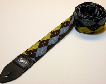 Handmade Guitar Strap - ARGYLE - Preppie - Yuppie - Blue - Yellow - Brown