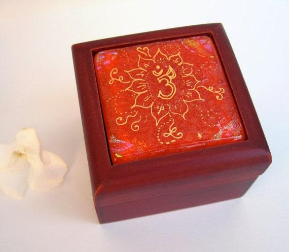 Om fused & painted glass box, orange dichroic glass art, mahogany