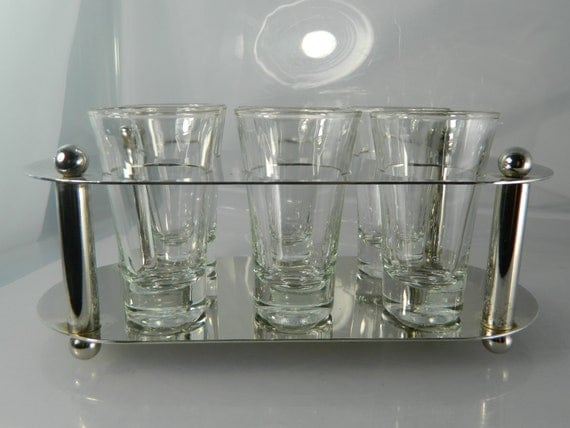 Shot Glass Caddy 1950's Silver Plate Barware Set of 6