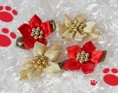 Dog Bow - Christmas Poinsettias