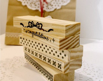 Wooden Rubber Stamp Set - Lace Bar Stamp - 5 Pcs