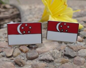 Singapore Flag Cufflinks