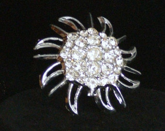 clear rhinestone  sunflower Brooch