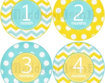 Monthly Baby Stickers, Baby Month Stickers, Monthly Bodysuit Sticker, Monthly Stickers Chevron Dots (Blue Yellow Neutral)