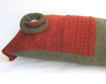 """Colorblock Lumbar Pillow, Decorative Brick Army green Cushion, Knit Rustic Pillow Case, Classic Country Home Decor, Home Living, 12 """"x 18"""""""