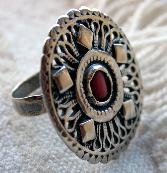 Moroccan CORAL Vintage Bold Tribal Silver Ring