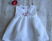 Beautiful Monogrammed Dress and Matching Headband - Monogrammed Hemstitched Linen Dress
