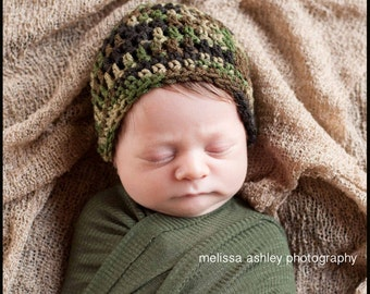 Camouflage newborn to adult crochet baby hat, infant camo hat, boys camo hat, girls camo hat, newborn camo hat, military hat