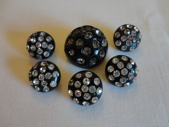 VINTAGE Buttons 1940s or 50s round black plastic with rhinestones , 5 small  and one large, shank  repurpose