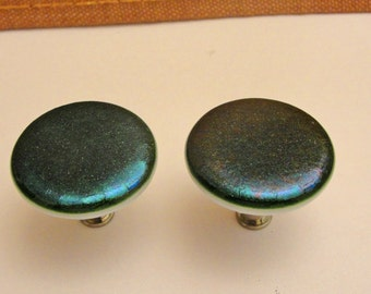 Iridescent Green Fused Glass Cabinet Knobs, Dark Green Drawer Knobs, Closet Door Knobs, Furniture Pulls, Round Dresser Knob, Cabinet Handles