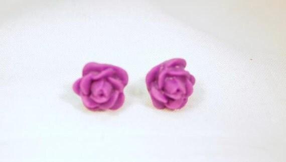 Resin Rose, Purple Rose Pierced Earrings.  CKDesigns.us