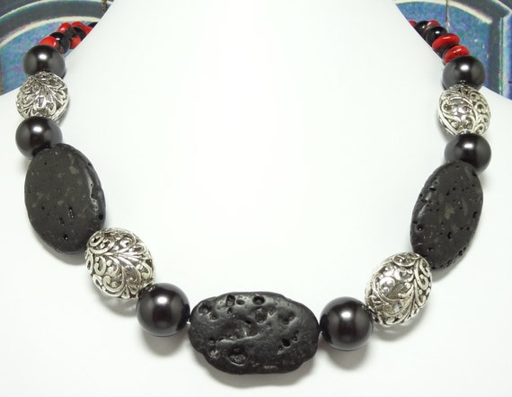 Modern Tribal Necklace Made with Lava and Coral Gemstones with Black Glass Pearls and Filigree Metal Beads 18 1/2 Inches