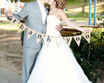 Thank you burlap banner bunting - wedding garland- photography prop