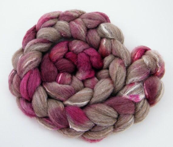 Pink BFL Roving  - Spinning Fiber -  BFL Silk- Hint of Pink 100g 1057