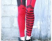 Red and Black Striped Leggings - Pippi Legging - MEDIUM