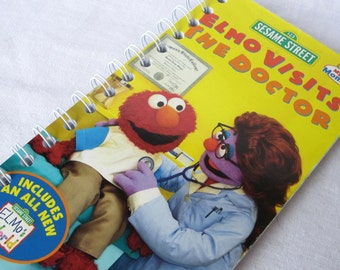 Upcycled Notebook/Recycled Notebook from Sesame Street's Elmo Visits the Doctor VHS box, 50 sheets/100 pages