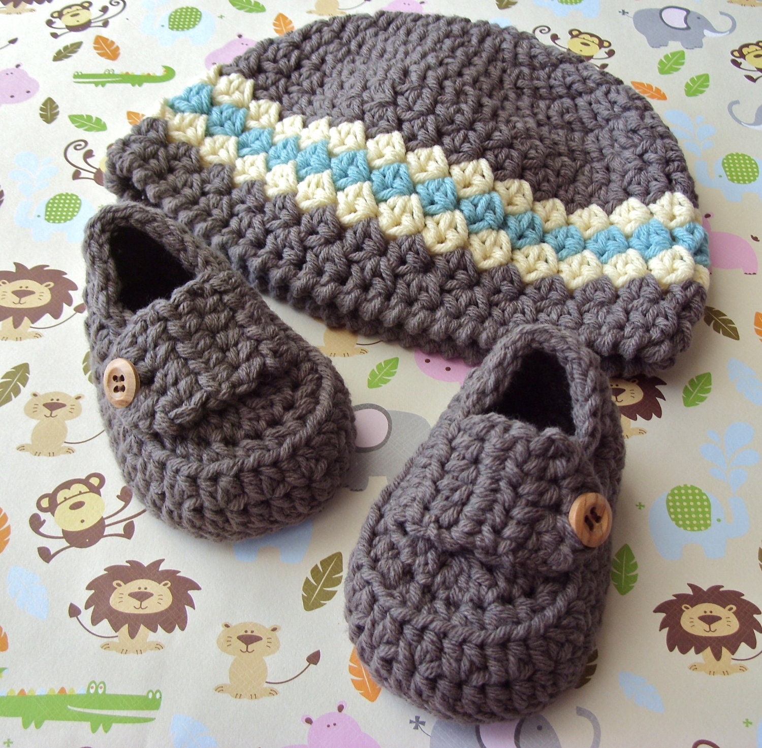 Baby Boy Hat Crochet Baby Shoes Baby Beanie by