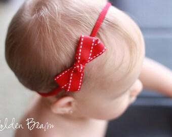 Baby Red Headband -  Red Stitched Edge Ribbon Bow Handmade Headband - Baby to Adult Headband