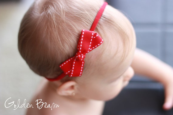 Baby Red Headband -  Red Stitched Edge Ribbon Bow Handmade Headband - Baby to Adult Headband