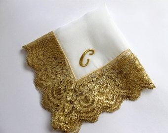 Gold Monogram Wedding Handkerchief, Bridal Gift, Personalized Bride/ Mother of Bride/ Mother of Groom Gift, Bridal Shower Gift, Silk Hanky