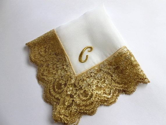 Gold Monogram Wedding Handkerchief, Bridal Gift, Personalized Bride/ Mother of Bride/ Mother of Groom Gift, Bridal Shower Gift, Silk Hanky