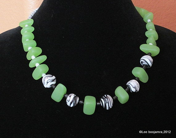 Green Sea Glass Necklace with Black & White Murano Glass Beads