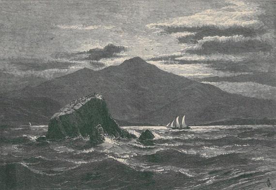 1895 Landscape Print  Mount Tamalpais and Red Porch Engraving Swain Gifford California Coast
