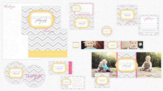Chevron Chic - Business Marketing Kit PSD Photoshop Templates Photographers Boutiques Business Card Facebook Cd