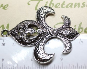 1 pc per pack 74x60mm Clear Rhinestone Fleur de Lis Pendant in antique Silver lead free Pewter