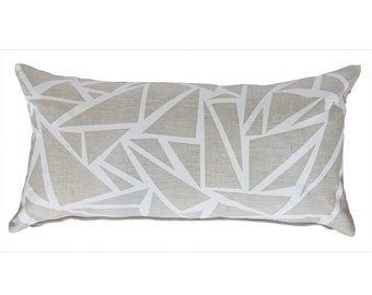 Hand printed linen cushion pillow cover in White on Natural