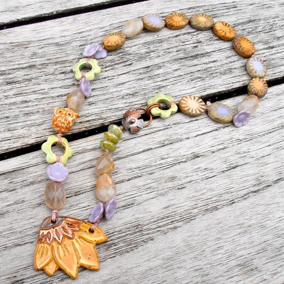 handmade beaded necklace, sunflower necklace, yellow necklace, flower necklace, green and purple necklace, ooak necklace,