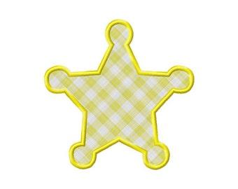 Applique Sheriff Badge Machine Embroidery Design - 3 Sizes