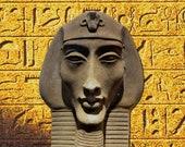 Egyptian Pharaoh Akhenaten, Garden Ornament, Wall Sculpture, Very Detailed