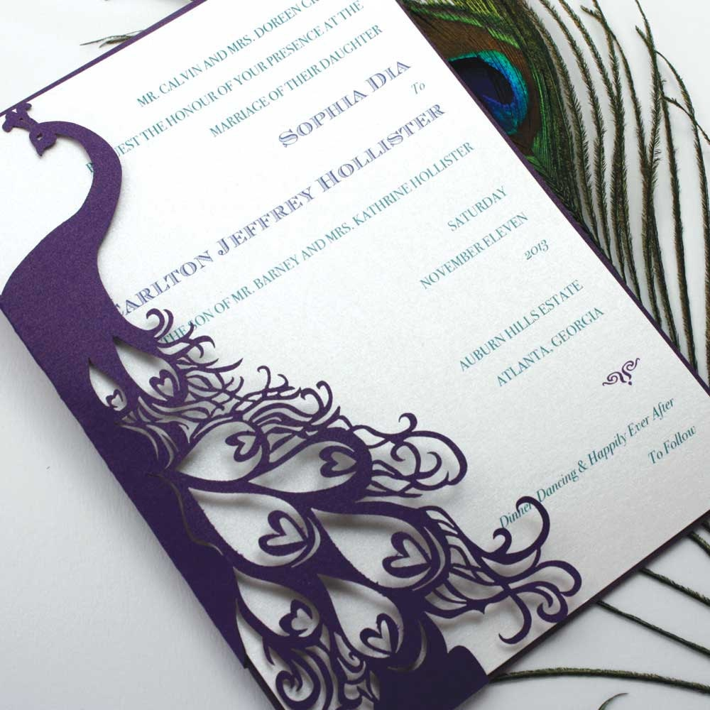 Laser cut pocket peacock for Peacock wedding invitations with photo