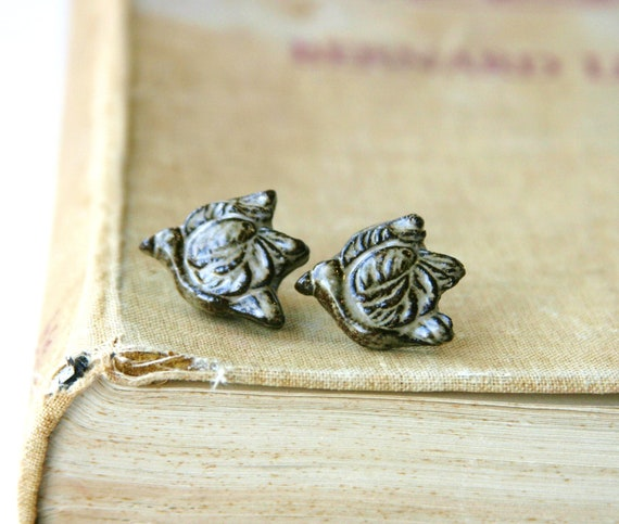 Flying Bird Post Earrings - Handmade Ceramic Studs - Coffee Brown and French Cream - Ready to Ship
