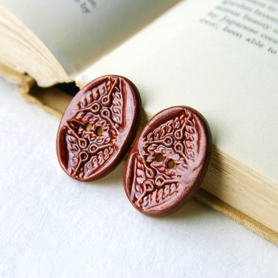 Modern Buttons - Oval Ceramic Buttons - Rustic Red