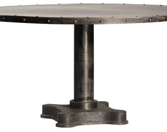 Viktor Industrial Solid Metal and Cast Iron Dining Table